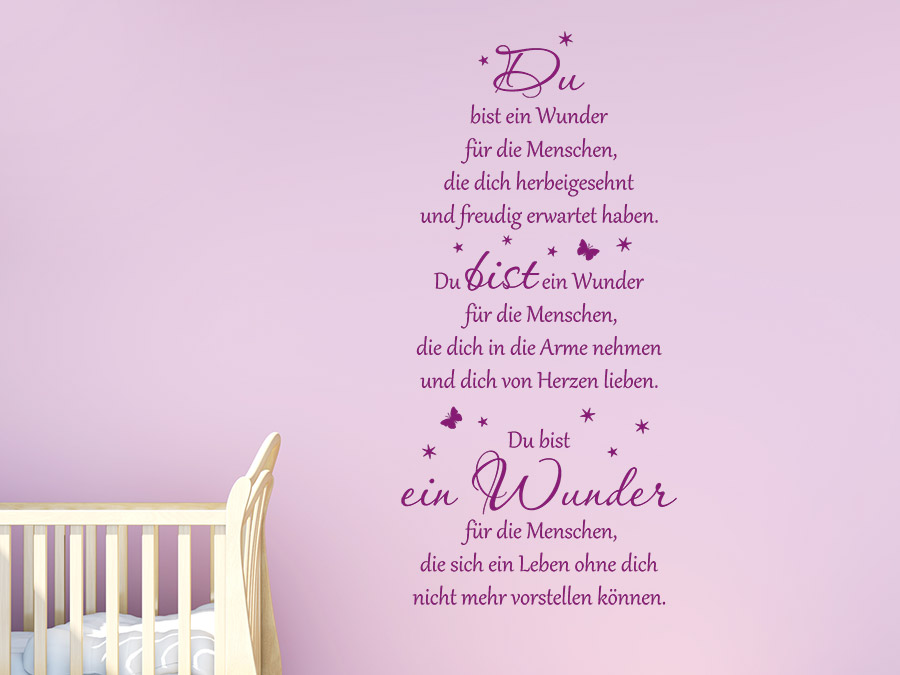 wandtattoo gedicht du bist ein wunder. Black Bedroom Furniture Sets. Home Design Ideas