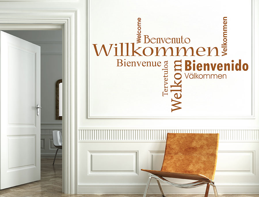 Wandtattoo Willkommen Wortwolke Bienvenue Im Eingangsbereich Modernes Welcome