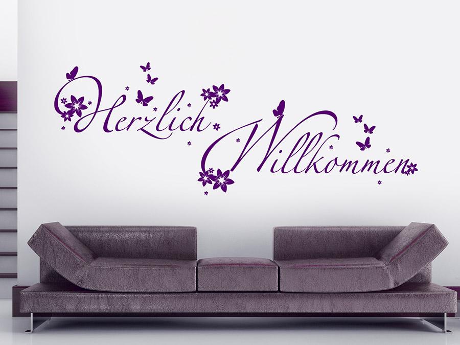 wandtattoo verspieltes herzlich willkommen von. Black Bedroom Furniture Sets. Home Design Ideas