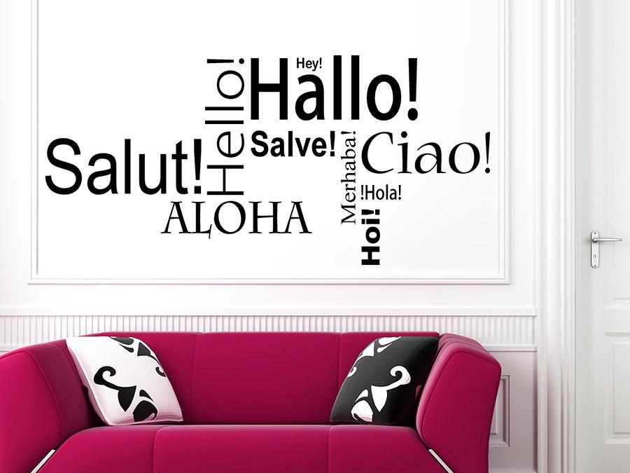 wandtattoo hallo hello ciao wortwolke wandtattoo de. Black Bedroom Furniture Sets. Home Design Ideas