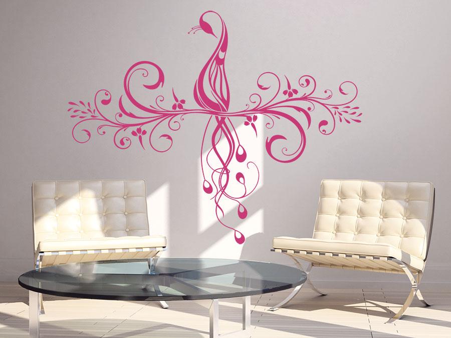 Ornament Wandtattoo Mit Pfau In Pink Im Wohnzimmer