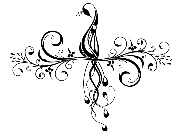 Ansicht Ornament mit Pfau als Wandtattoo