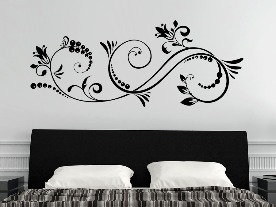 wandtattoo elegantes ornament mit bl ten wandtattoo de. Black Bedroom Furniture Sets. Home Design Ideas