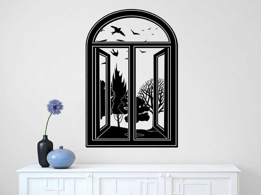 wandtattoo fenster sch ner ausblick. Black Bedroom Furniture Sets. Home Design Ideas