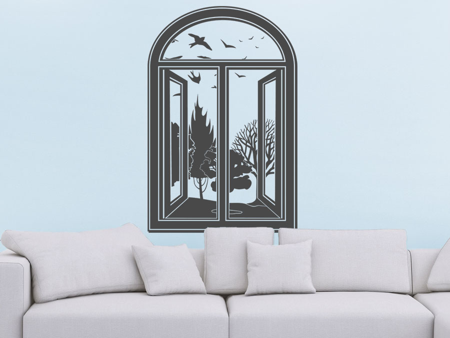 wandtattoo fenster mit aussicht von. Black Bedroom Furniture Sets. Home Design Ideas