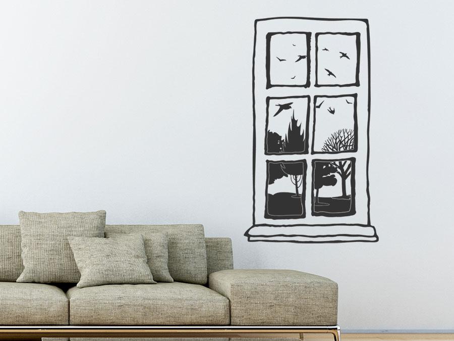 wandtattoo vintage fenster mit ausblick wandtattoo de. Black Bedroom Furniture Sets. Home Design Ideas