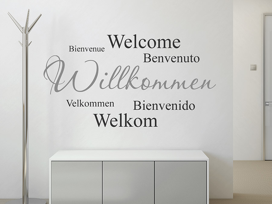 wandtattoo willkommen in verschiedenen sprachen wandtattoo de. Black Bedroom Furniture Sets. Home Design Ideas