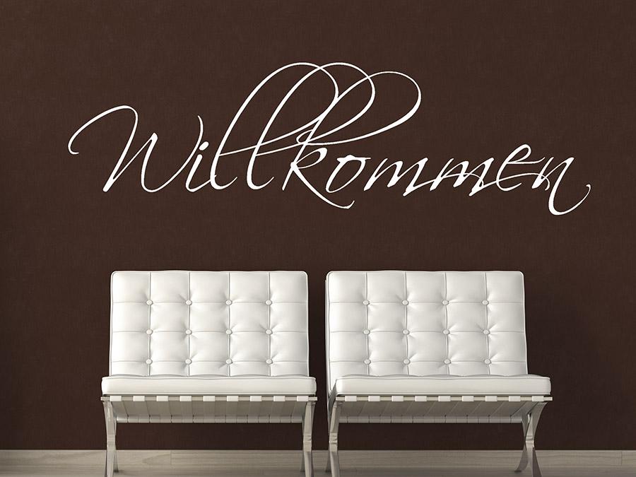 wandtattoo willkommen schriftzug schreibschrift wandtattoo de. Black Bedroom Furniture Sets. Home Design Ideas