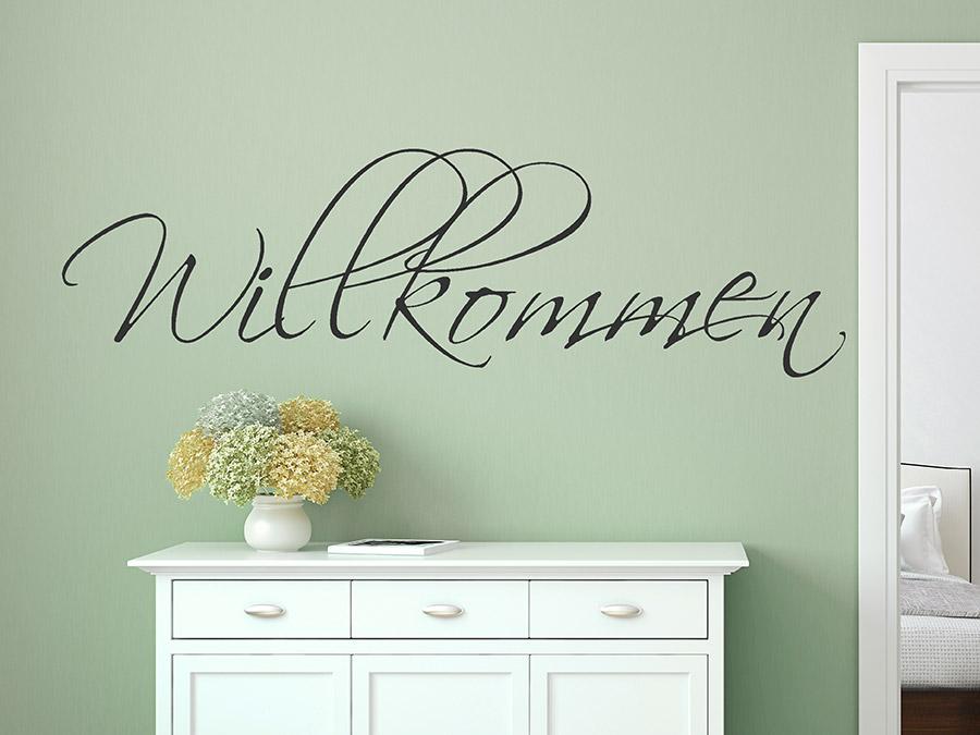 wandtattoo willkommen schriftzug schreibschrift. Black Bedroom Furniture Sets. Home Design Ideas