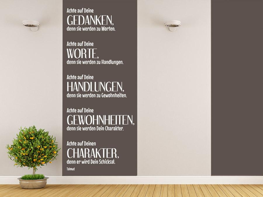 wandtattoo achte auf deine gedanken von. Black Bedroom Furniture Sets. Home Design Ideas