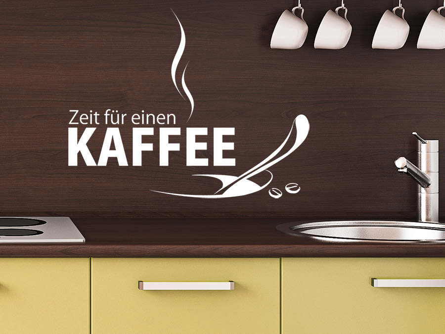 wandtattoo zeit f r einen kaffee bei. Black Bedroom Furniture Sets. Home Design Ideas