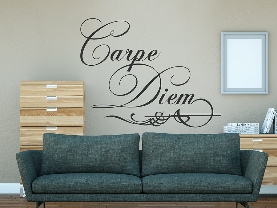 wandtattoo carpe diem mit ornament. Black Bedroom Furniture Sets. Home Design Ideas