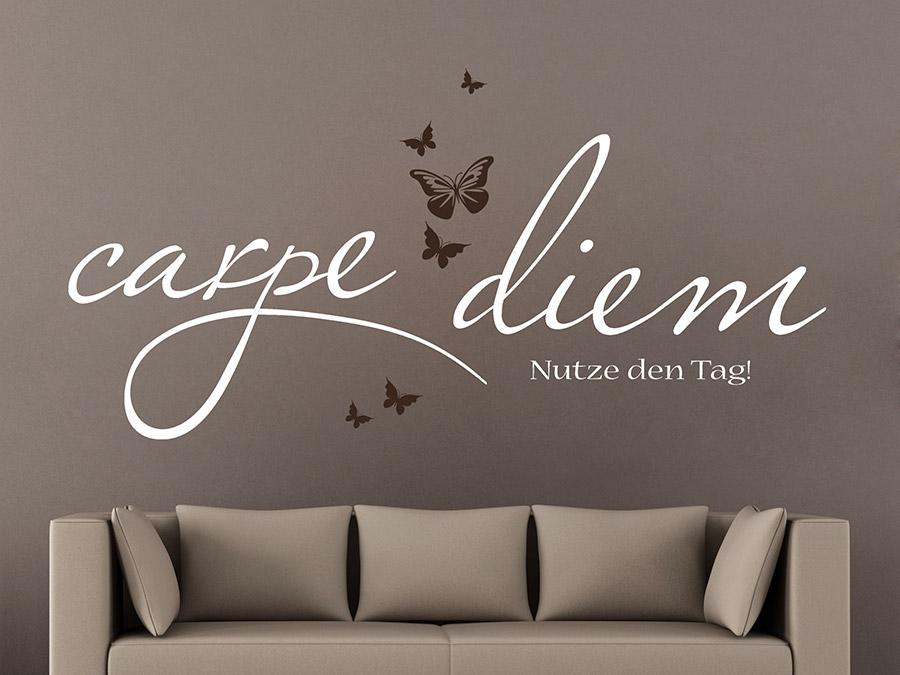 wandtattoo carpe diem mit schmetterlingen wandtattoo de. Black Bedroom Furniture Sets. Home Design Ideas