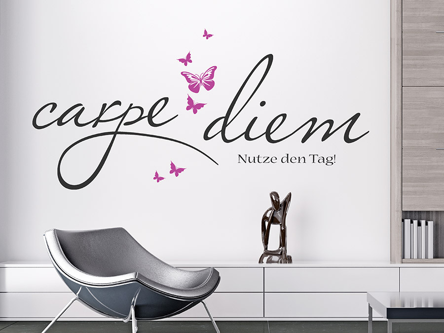 wandtattoo carpe diem mit schmetterlingen wandtattoo de. Black Bedroom Furniture Sets. Home Design Ideas