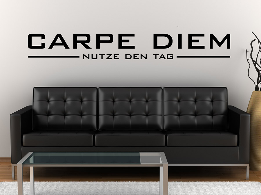 wandtattoo puristisches carpe diem bei. Black Bedroom Furniture Sets. Home Design Ideas