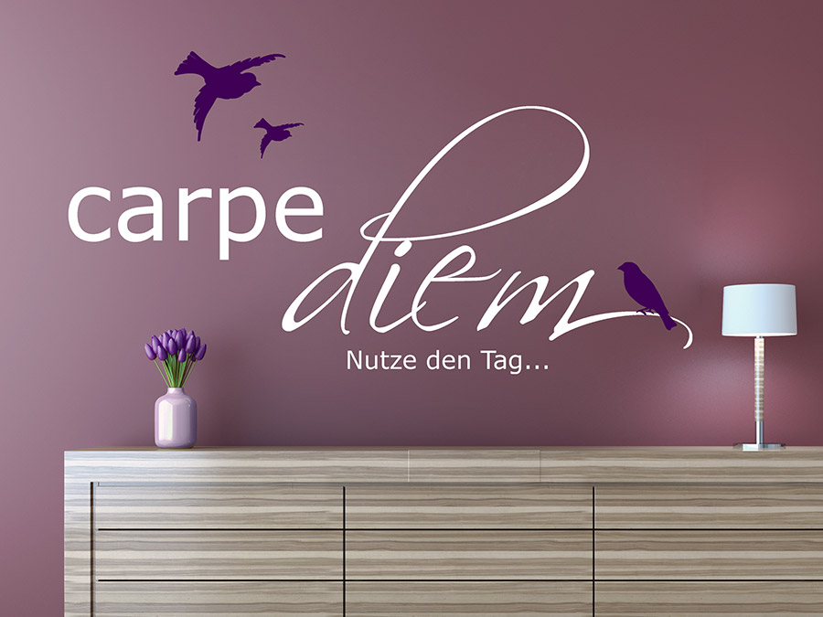 wandtattoo carpe diem mit v gel wandtattoo de. Black Bedroom Furniture Sets. Home Design Ideas