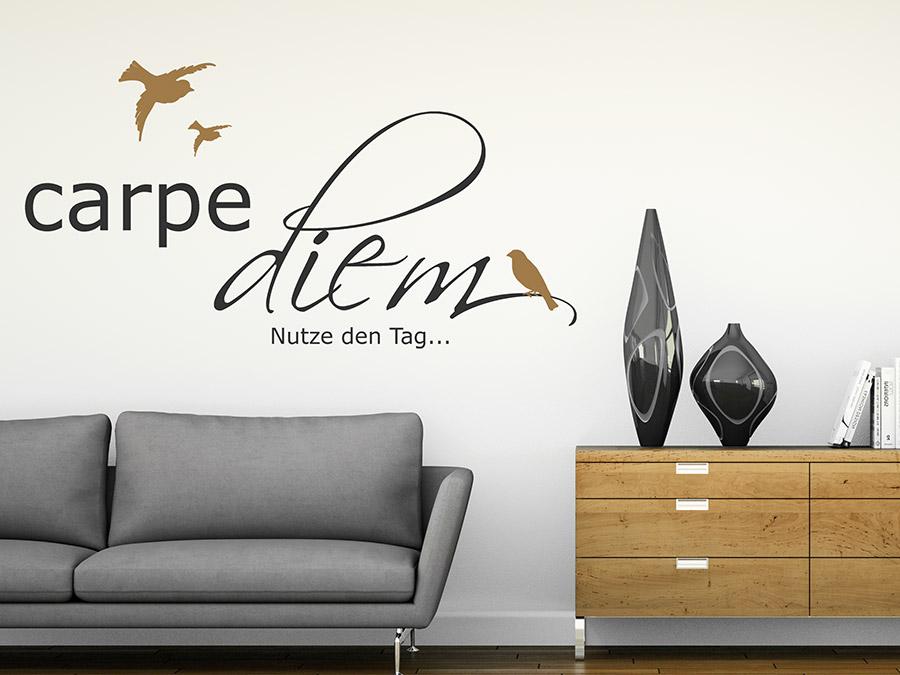 wandtattoo carpe diem mit v gel wandtattoo de. Black Bedroom Furniture Sets. Home Design Ideas