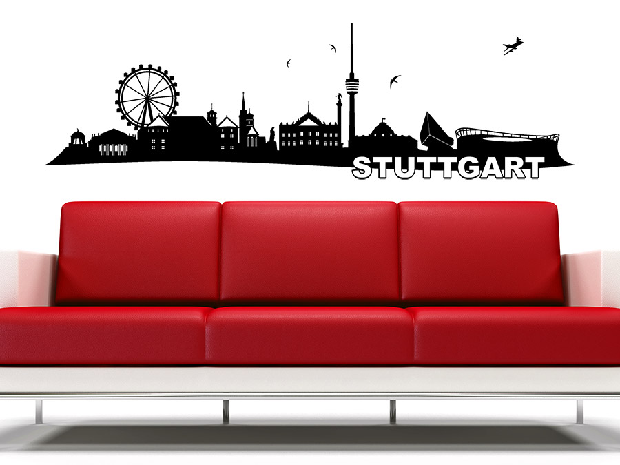 wandtattoo stuttgart skyline von. Black Bedroom Furniture Sets. Home Design Ideas