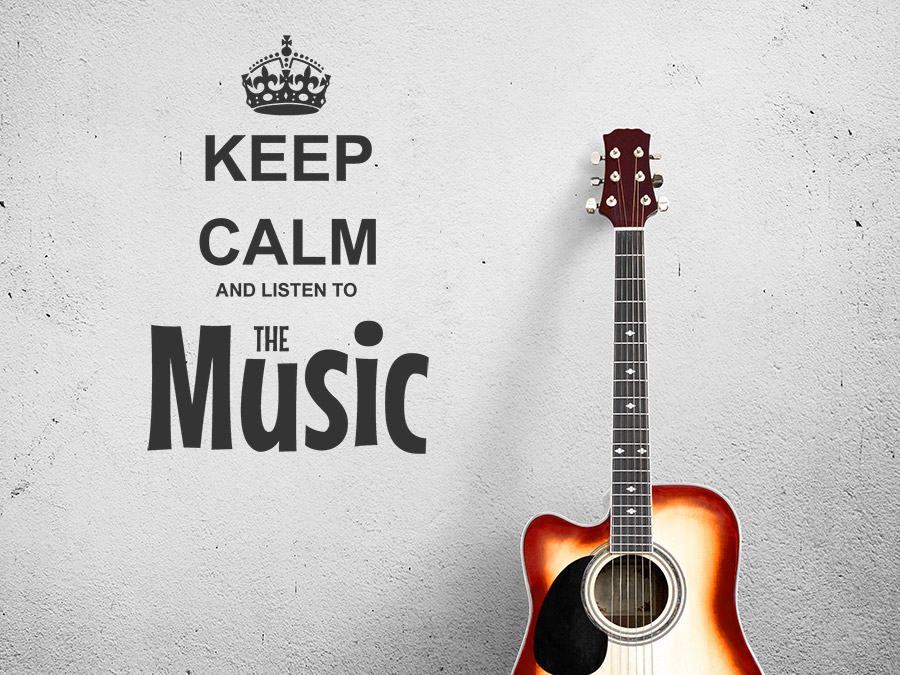 Wandtattoo keep calm and listen to the music for Listen to house music