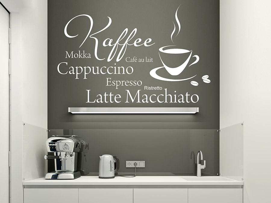 wandtattoo kaffee mokka espresso mit tasse bei. Black Bedroom Furniture Sets. Home Design Ideas