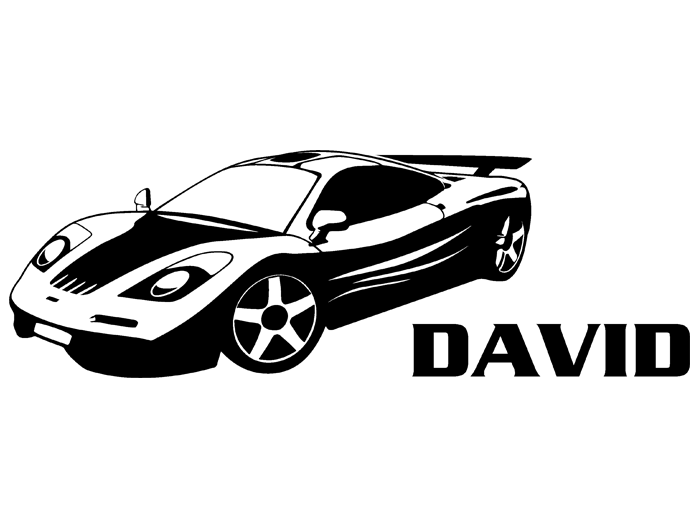 Ansicht Rennwagen mit Name als Wandtattoo