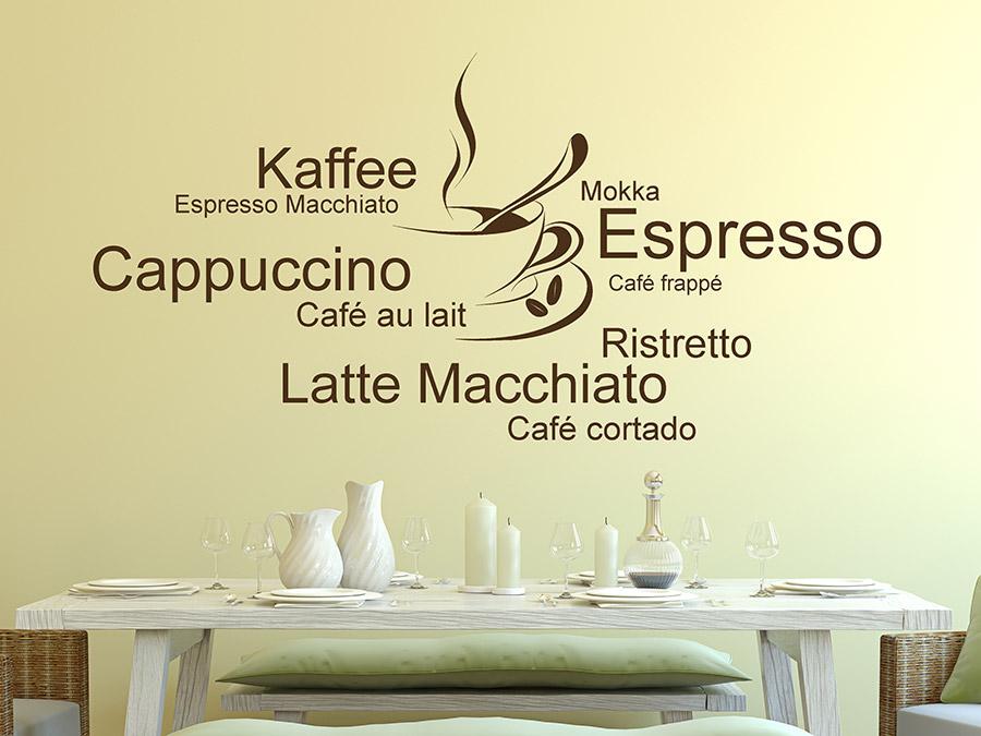 wandtattoo kaffee cappuccino espresso von. Black Bedroom Furniture Sets. Home Design Ideas