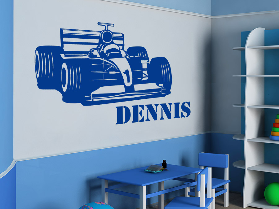 Wandtattoo Formel Auto mit Name Rennauto | WANDTATTOO.DE