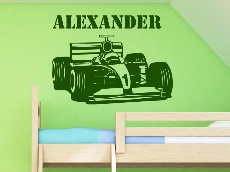 Wandtattoo Formel Auto mit Name Rennauto  WANDTATTOO.DE