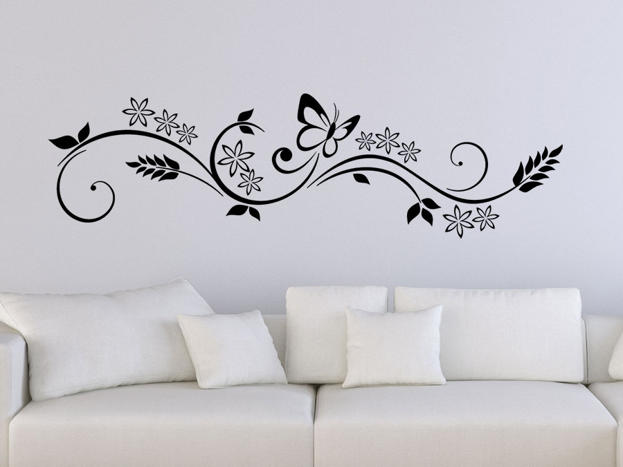 wandtattoo florales design mit schmetterling wandtattoo de. Black Bedroom Furniture Sets. Home Design Ideas