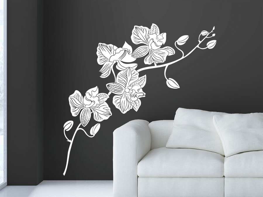 blten wandtattoo orchidee im wohnzimmer in wei - Wandtattoo Wohnzimmer Blumen