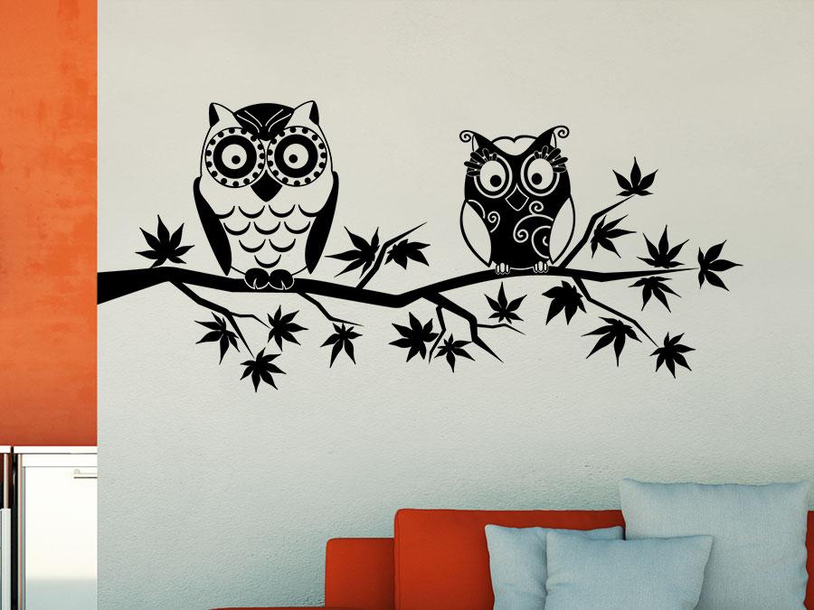 wandtattoo ast mit eulen wandtattoo de. Black Bedroom Furniture Sets. Home Design Ideas