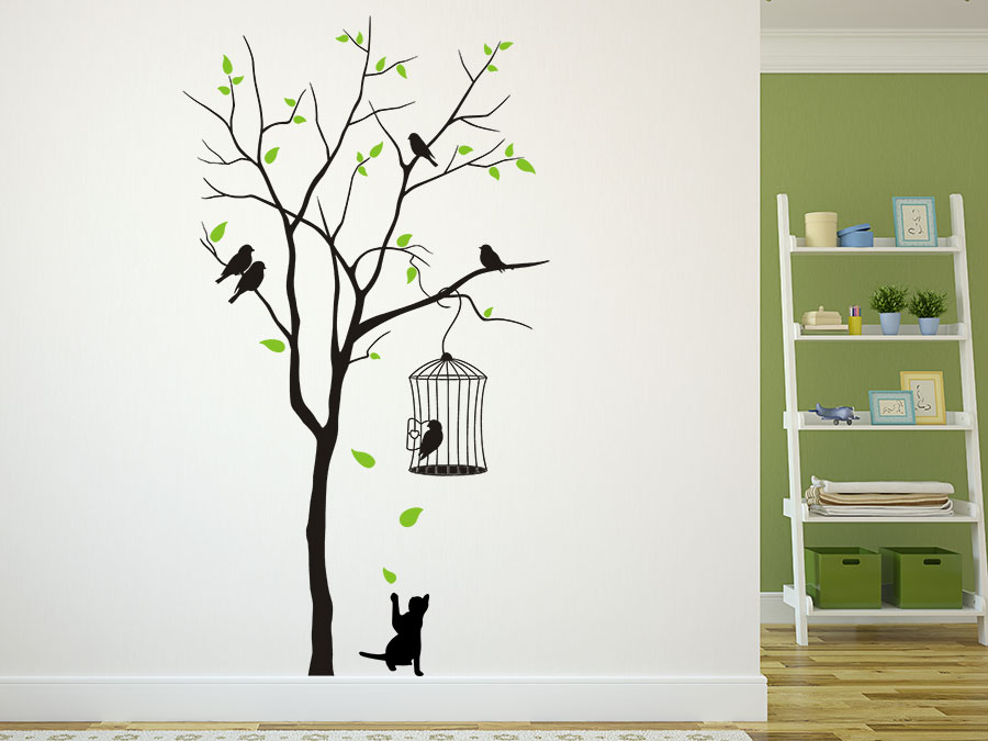 wandtattoo baum mit vogelk fig und katze wandtattoo de. Black Bedroom Furniture Sets. Home Design Ideas