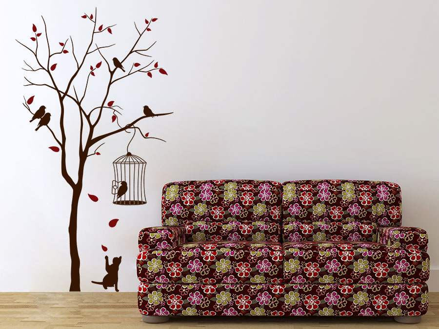 wandtattoo baum mit katze und k fig bei. Black Bedroom Furniture Sets. Home Design Ideas