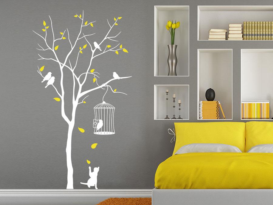 wandtattoo baum mit vogelk fig von. Black Bedroom Furniture Sets. Home Design Ideas