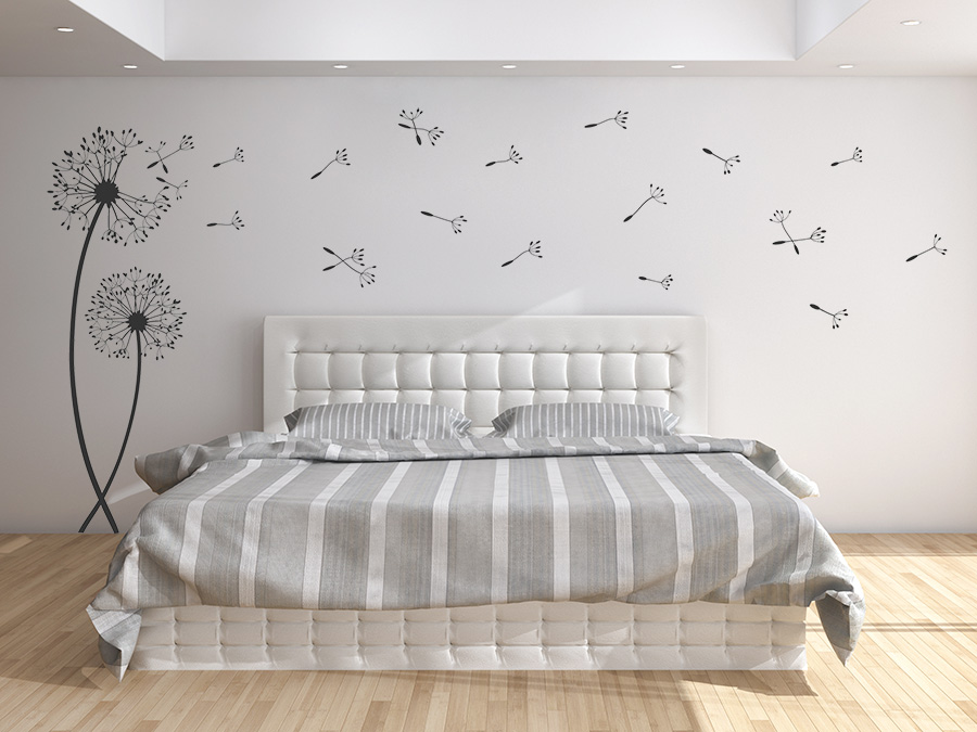 wandtattoos wehende pusteblumen mit wegfliegenden samen. Black Bedroom Furniture Sets. Home Design Ideas