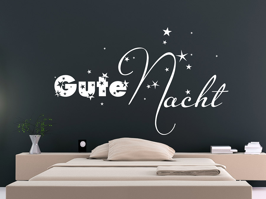 wandtattoo gute nacht mit sternen von. Black Bedroom Furniture Sets. Home Design Ideas