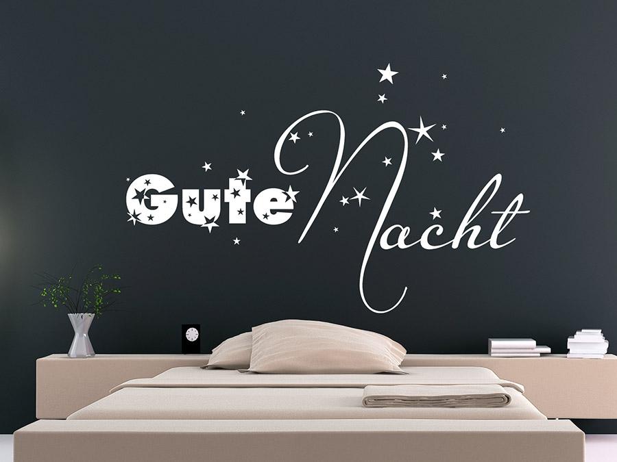 wandtattoo gute nacht mit sternen wandtattoo de. Black Bedroom Furniture Sets. Home Design Ideas