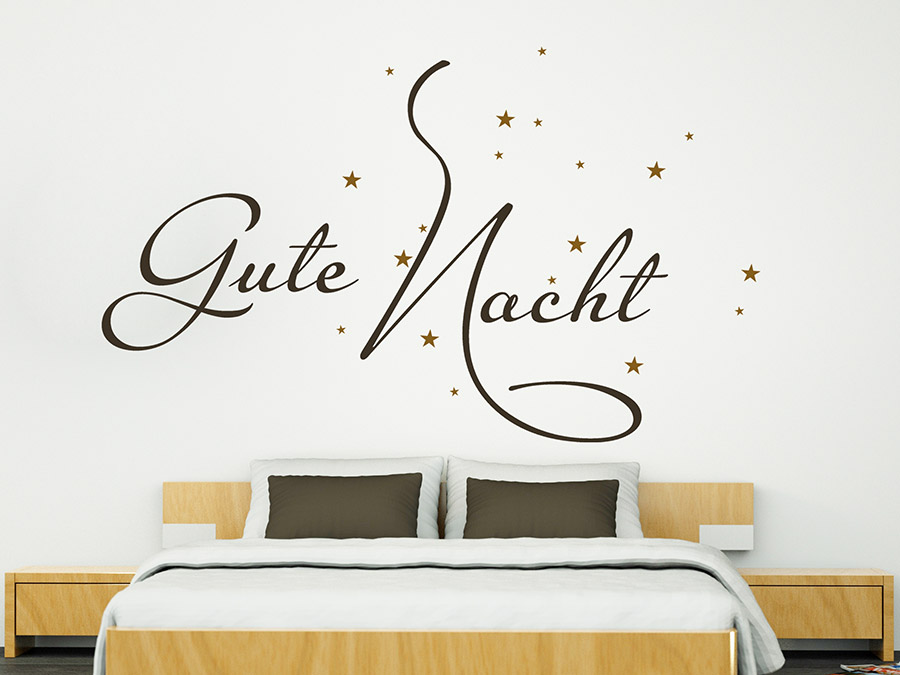 wandtattoo worte wunderbare gute nacht bei. Black Bedroom Furniture Sets. Home Design Ideas