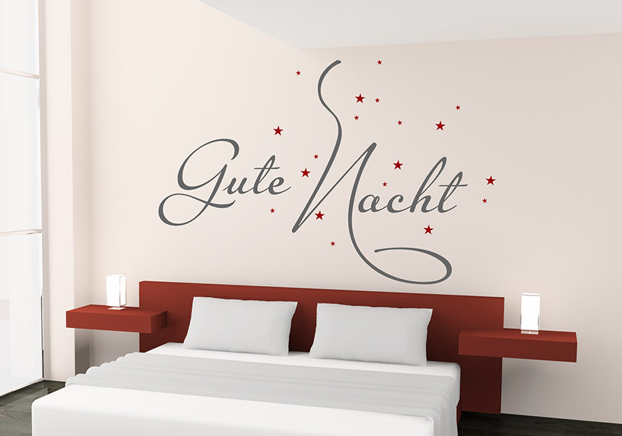 wandtattoo traumhafte gute nacht mit sternen wandtattoo de. Black Bedroom Furniture Sets. Home Design Ideas