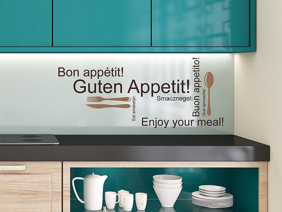 wandtattoo guten appetit 2 farbig f r die k che bei. Black Bedroom Furniture Sets. Home Design Ideas