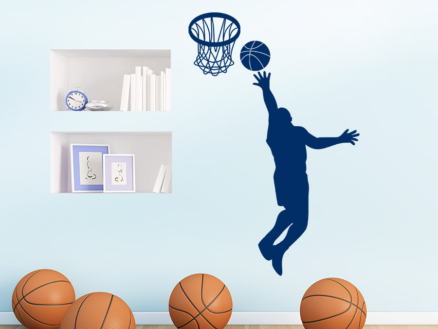 wandtattoo basketballer beim korbwurf bei. Black Bedroom Furniture Sets. Home Design Ideas