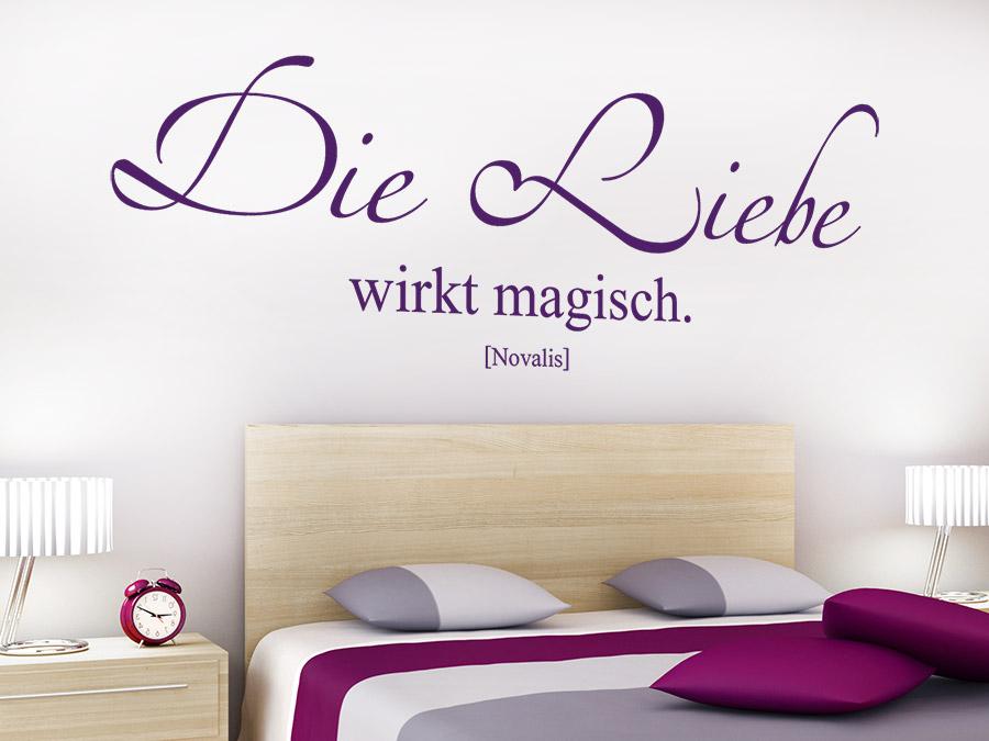 ... Schlafzimmer Wandtattoo Die Liebe Wirkt Magisch In Lila