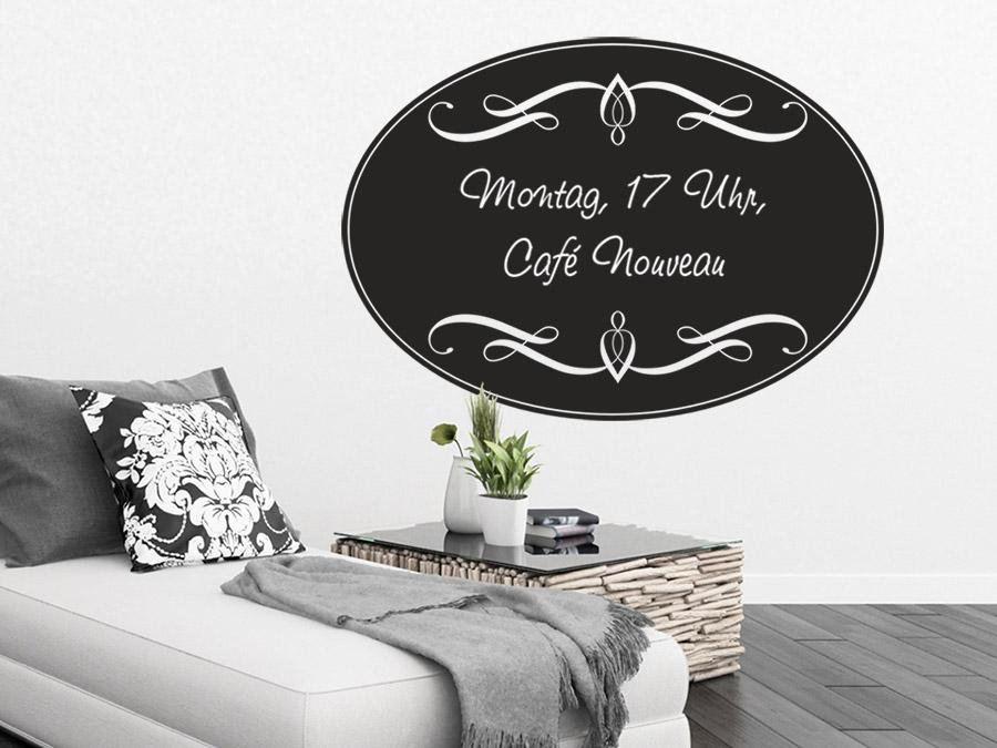 wandtattoo tafelfolie oval mit schn rkeln wandtattoo de. Black Bedroom Furniture Sets. Home Design Ideas