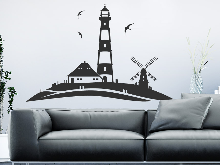 wandtattoo leuchtturm landschaft am meer wandtattoo de. Black Bedroom Furniture Sets. Home Design Ideas