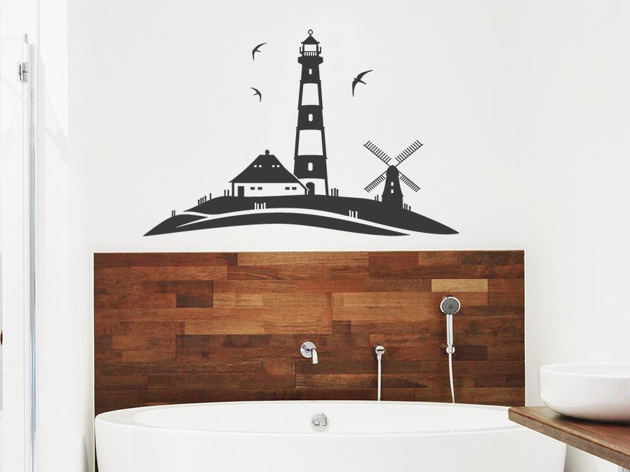 Wandtattoo Küstenlandschaft mit Leuchtturm und Mühle bei ...