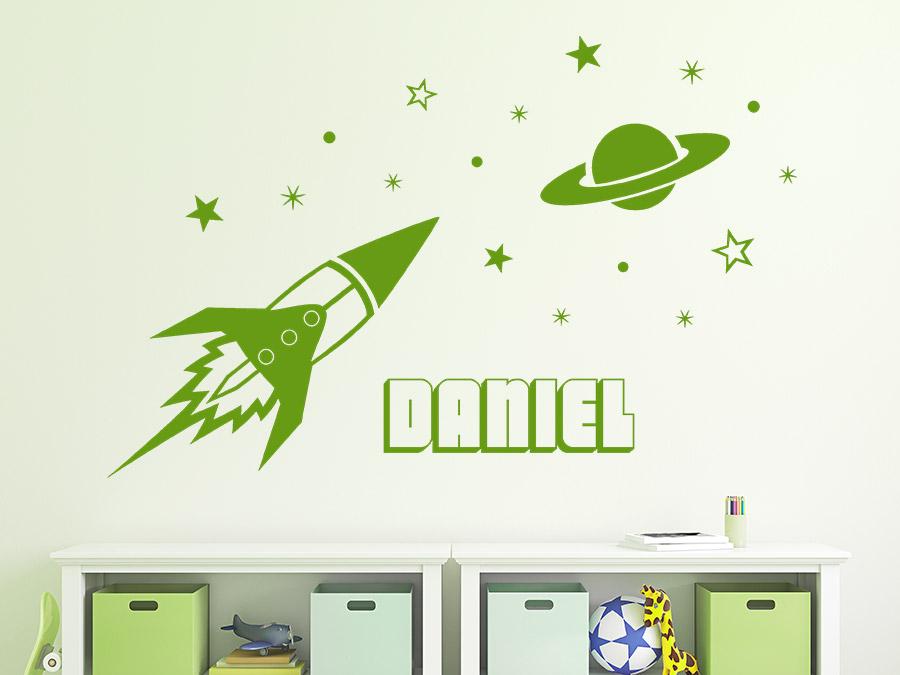 Superb Wandtattoo Rakete Mit Name Wandtattoo Rakete Mit Name Im Kinderzimmer ...