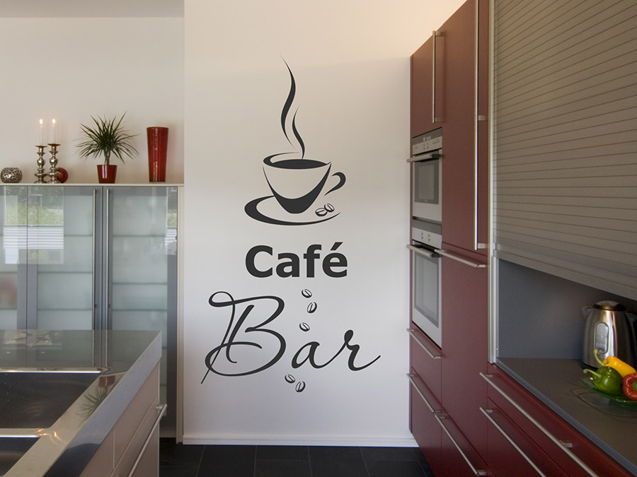 wandtattoo caf bar mit kaffeetasse wandtattoo de. Black Bedroom Furniture Sets. Home Design Ideas