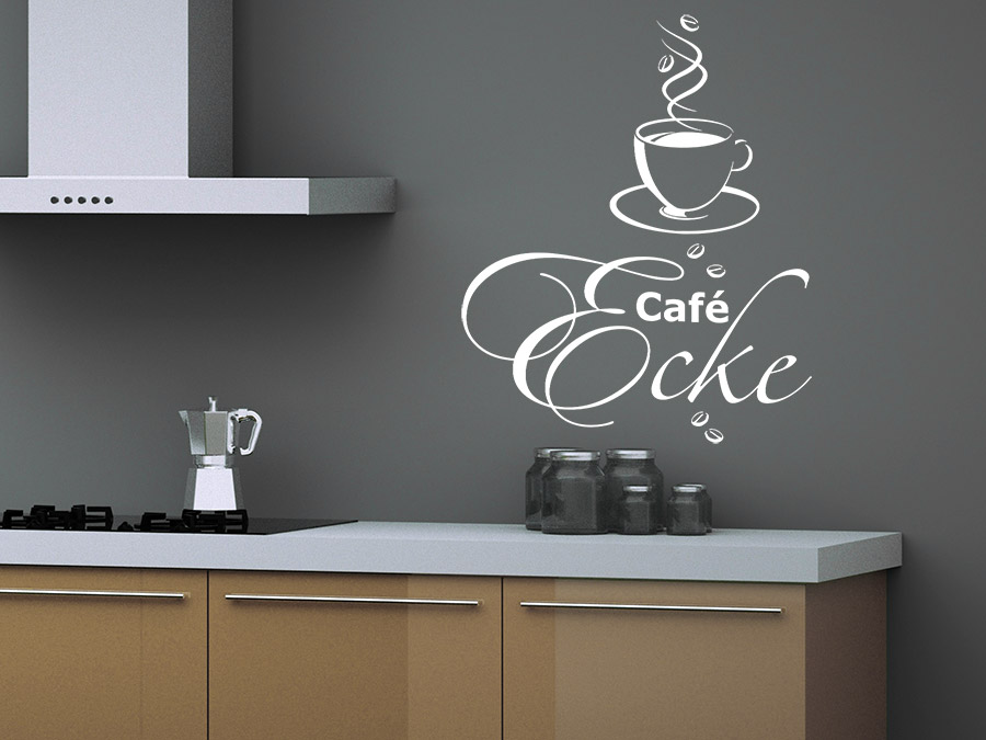 wandtattoo caf ecke mit heisser tasse bei. Black Bedroom Furniture Sets. Home Design Ideas