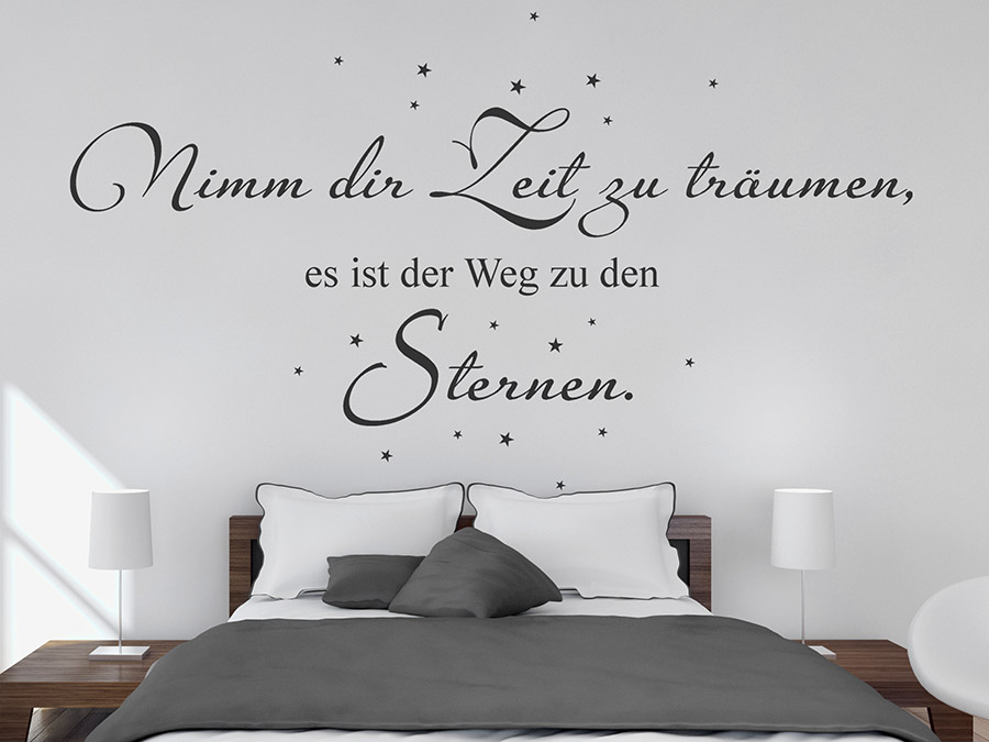 wandtattoo zeit zu tr umen mit sternen bei. Black Bedroom Furniture Sets. Home Design Ideas