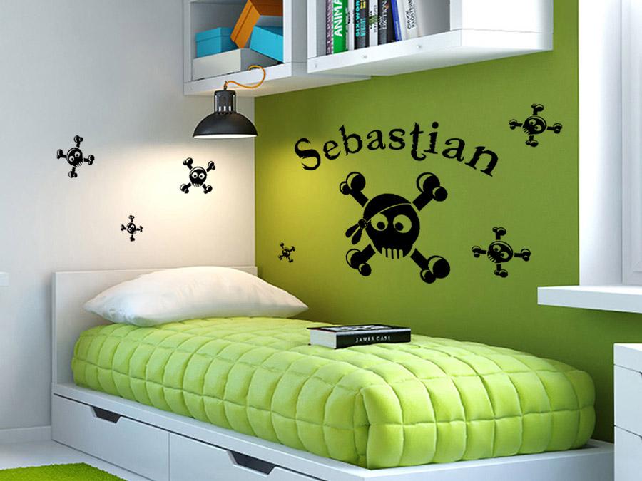 wandtattoo set witzige skulls mit wunschname von. Black Bedroom Furniture Sets. Home Design Ideas